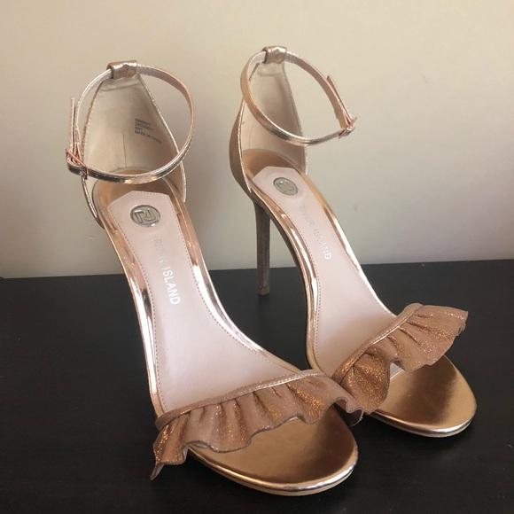 b5fe0465fb River Island Shoes | Rose Gold Frill Heels Sandals | Poshmark
